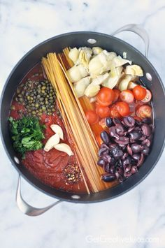 One Pot Pasta Puttanesca - spicy with olives, capers, garlic and artichoke hearts