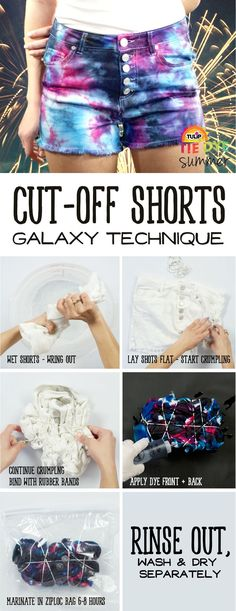 Take your shorts from bore to borealis with this epic shorts DIY using Tulip One-Step Tie Dye! Find more projects and techniques at  tiedyeyoursummer.com