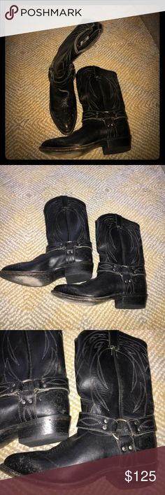 Women's FRYE black Cowboy boots sz 8 euc Frye cowboy boots in distressed black. Good condition. Worn 3 times. Still smell like leather inside. Harness buckle on sides of boots. Very nice pair of boots. Retail for over $200 Frye Shoes Heeled Boots