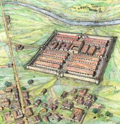 reconstruction of a Roman fort in South Yorkshire