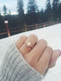 Rose gold halo engagement ring / http://www.deerpearlflowers.com/rose-gold-engagement-rings/