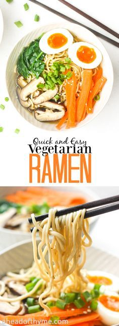Quick and Easy Vegetarian Ramen: Put down that cup of instant noodles and make fresh, quick and easy vegetarian ramen in 15 minutes. | aheadofthyme.com via @aheadofthyme