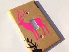 Pink Deer Light Switch Cover / Deer Nursery by COUTURELIGHTPLATES Hot pink deer, hot pink deer decor, antler deer decor, deer nursery decor, pink deer nursery