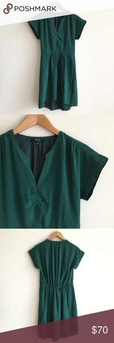 Madewell Green 100% Silk Fable Dress Dark forest green. 100% Silk, lined. V neckline. Short sleeve. Waisted. Soft ruching at neck and waist. Extremely flattering. Excellent condition, worn once. Madewell Dresses