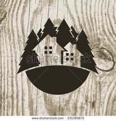 Vintage styled eco house badge with tree on wooden texture background. Vector logo design template.  Design concept for real estate agencies, hotels, cottages rent.