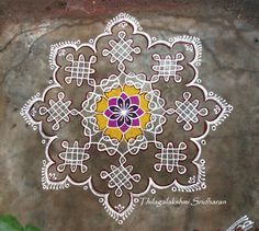 Rangoli and Art Works: Margazhi 2015 - Day 13 kolam Rangoli Border Designs, Small Rangoli Design, Rangoli Designs Diwali, Rangoli Designs Images, Rangoli Designs With Dots, Kolam Rangoli, Flower Rangoli, Rangoli With Dots, Beautiful Rangoli Designs