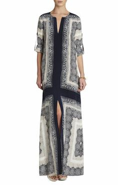 Olivia Scarf-Printed Caftan Dress | BCBG