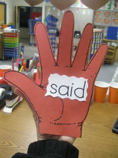 Sight Word learning: On the way out the door to recess or specials the students will say the sight word on teacher hand and then give me a high five for getting it right