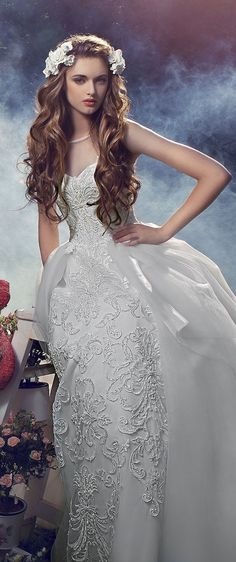 Milva 2016 Wedding Dresses lace embroidered wedding gown with overskirt