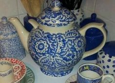 Emma Bridgewater Blue Floral Conran Studio Special Gallon Teapot for Collectors Day
