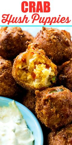 Crab Hush Puppies are fabulously crispy on the outside with chunks of jumbo lump crab meat on the inside. They are wonderful dipped in some Remoulade sauce. Crab Dishes, Seafood Dishes, Fish And Seafood, Seafood Meals, Crab Recipes, Appetizer Recipes, Seafood Appetizers, Lump Crab Meat Recipes, Popular Appetizers