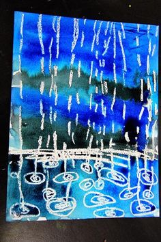 smART Class: Winter Rain Watercolor Resist - drops smaller further awaysmART Class: Winter Rain Watercolor Resist - I like this idea for springtime but also to combine with David Hockney Look forward to getting out of those freezing temps and turn a Kindergarten Art, Preschool Art, Projects For Kids, Art Projects, Weather Art, Weather Check, Classe D'art, Smart Class, Rain Art