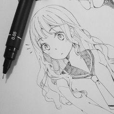 Image about girl in anime by on We Heart It Manga Drawing, Manga Art, Anime Art, Dibujos Anime Chibi, Anime Sketch, Marker Art, Animal Paintings, Pixel Art, Art Sketches