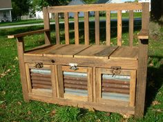 recycled wood bench. i don't know what the doors are but they remind me of an ice chest door.