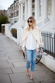 #classic button-down + rolled denim + nude pumps
