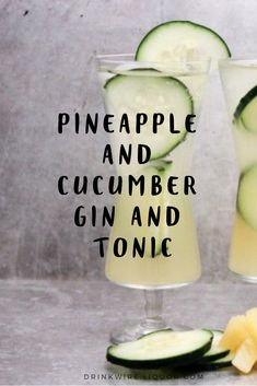 This variation of the Gin and Tonic adds pineapple and cucumber. It's a refreshing cocktail that will be a favorite at any spring or summer parties. drinks Pineapple and Cucumber Gin and Tonic Tonic Cocktails, Refreshing Cocktails, Summer Drinks, Cocktail Drinks, Cocktail Recipes, Alcoholic Drinks, Summer Parties, Beverages, Gin Cucumber Cocktail