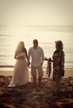 Small sunset on the beach. Casual clothes. Maybe a luau after. My ideal wedding */\•