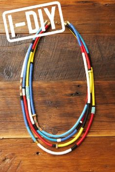 Have an old climbing rope? You can upcycle it into a super hip colored rope necklace as seen in the spring 2012 Cut25 show...