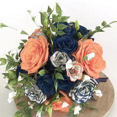 Flower Bouquet Diy, Rose Bouquet, Wedding Bouquet, Orange Centerpieces, Book Page Roses, Diy Wedding On A Budget, Eucalyptus Bouquet, Orange Paper, Navy Flowers