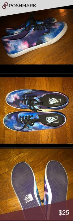 Women's Cosmic Galaxy Authentic Lo Pro Vans Size women's 9.5, men's 8.0. Worn only a few times. Minor marks of wearing, bottoms are a little worn (picture included). Hard to find since Vans does not make this print any longer! Do not have the original box, can ship in a shoe box that does not match the product. Price negotiable. Vans Shoes Sneakers
