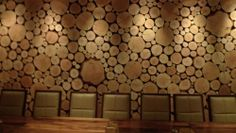 Westside Tavern LA - wall made from salvaged wood slabs from the san diego fires