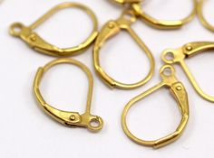 50 Raw Brass Plain Leverback Earring Findings 16x10 mm by yakutum, $4.00