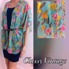 Mint garden print Kimono Cardigan Mint garden print Kimono cardigan. Made in USA and runs true to size. Beautiful floral print in flowly chiffon. Bust up to 41. Boutique Tops