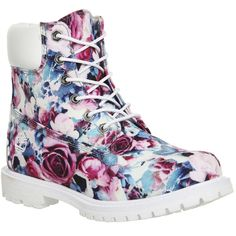 Timberland Premium 6 Boots ($230) ❤ liked on Polyvore featuring shoes, boots, ankle booties, ankle boots, floral, women, leather booties, short boots, laced booties and leather lace up boots