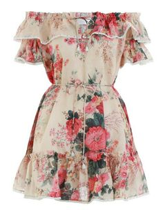 Zimmermann Laelia Frill Tier Short Dress in Meadow Floral Stage Outfits, Dress Outfits, Casual Dresses, Short Dresses, Fashion Dresses, Summer Dresses, Tiered Dress, Resort Wear Dresses, Casual Styles