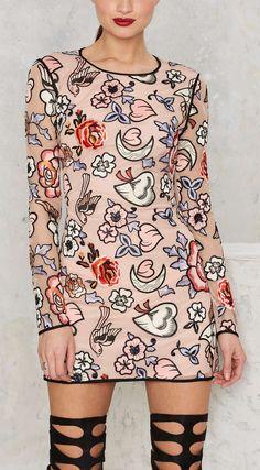Tattoo Deep Mini Dress