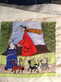 My free machine embroidered version of a painting by Sam Toft