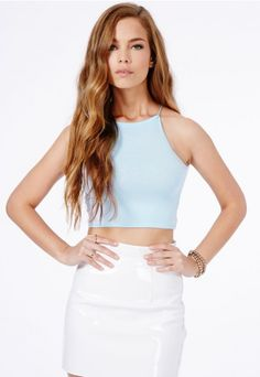Mintare Crop Top With Spaghetti Straps - Tops - Crop Tops - Missguided