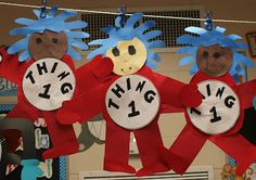 Thing 1 and Thing 2 made out of construction paper