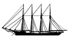 profile of four-masted schooner