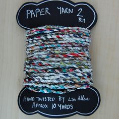 Hand twisted paper yarn, 2 ply, made from magazine pages, 10yrds by Louise S.A. Allen