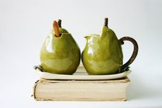 Porcelain Sugar and Creamer Set  Pears Handmade by BackBayPottery, $79.50