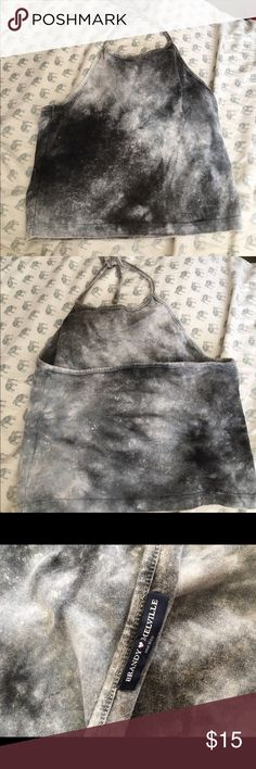 Brandy Melville Galaxy halter top Super cute and comfy galaxy grey/black cropped halter top from Brandy Melville. Never worn with no tags Brandy Melville Tops Crop Tops