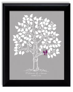 Wedding Guest Tree Book Alternative Poster with love birds, eggplant purple silver gray, davids bridal lapis sangria for 100. $40.00, via Etsy.