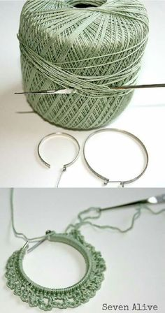 Crocheted earrings tutorial, but this idea could be used for all kinds of things/ interessante tutorial per orecchini a cerchio/Crocheted earrings tutorial, the perfect last-minute gift for a friend.Crocheted earrings tutorial( How funny to find this Love Crochet, Diy Crochet, Crochet Crafts, Crochet Flowers, Crochet Projects, Tutorial Crochet, Diy Projects, Single Crochet, Crochet Jewelry Patterns