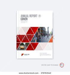 Brochure template, cover design, annual report, magazine and flyer layout with red geometric shapes on polygonal background. Vector illustration.