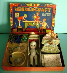 Vintage 1920's Boxed All Bisque Doll Sewing Set Kit in Box