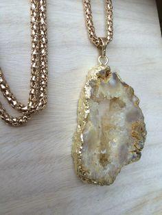 Gold raw Druzy gemstone necklace £34.99 by SheRocksGemjewellery