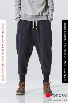 The Juku Harem Pants come in Black, Red, and Blue, and are made from a cotton linen blend. Juku Harem Pants, Men's Fashion, Trendy Outfit, Street Style, Men's Style Inspiration, Men's Casual Outfit, Men's Clothing Outfit, Men's Fall Outfits, Men's Classy Style, Aesthetic Pant, Comfortable Pant, Men's Style, Fashion Blogger, Men's Fashionwear! #pant #mensfashion #menslook #fashionblogger #kokorostyle