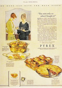 """Mother Gives Daughter Her Used Pyrex Dish for Wedding Gift    """"The Ladies Home Journal""""  June 1925  OK -I realize this isn't exactly """"Mid-Century""""......but a used Pyrex  dish for a wedding present???  Guess it's gonna be all down hill from here sweetheart.....!!"""