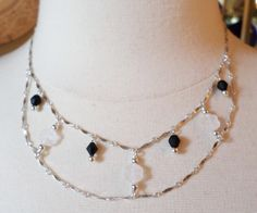 Sterling Silver 925 Stamped, SU Signed, Unique Links and Glass Beads Festoon Choker Necklace. by Bestintreasures on Etsy