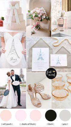 Destination wedding in paris | fabmood.com | French chateau wedding,blush and grey wedding colours palette,wedding colors,elegant wedding in Paris,paris wedding ideas,palette