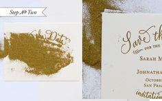 DIY Tutorial: Gold Rubber Stamp Save the Dates by Antiquaria via Oh So Beautiful Paper
