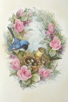 Carolyn Shores Wright Birds Eggs Nest Pink Rose Flowers- 1032 x 1529