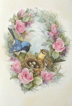 Carolyn Shores Wright Birds Eggs Nest Pink Rose Flowers-1032 x 1529
