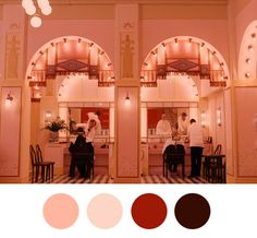 Think pink! Production designer Adam Stockhausen takes us on an exclusive behind-the-scenes tour of Wes Anderson's Grand Budapest Hotel Movie Color Palette, Colour Pallette, Colour Schemes, Color Combos, Colour Chart, Wes Anderson Style, Wes Anderson Movies, Grand Budapest Hotel, Numero Hotel